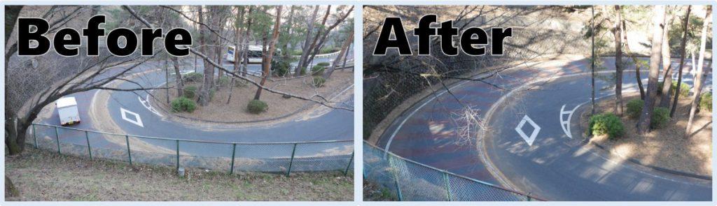 カーブ部分のBefore/After。落ち葉に隠れていたセンターラインがきちんと見えるようになりました。